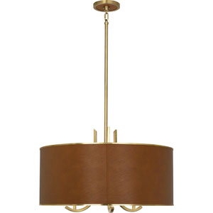 Brydges Antique Brass and Leather Three-Light Pendant