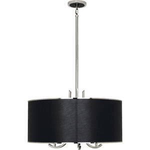 Brydges Polished Nickel and Black Leather Three-Light Pendant