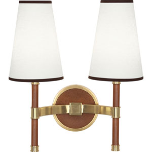 Berwick Brass and Leather Two-Light Wall Sconce