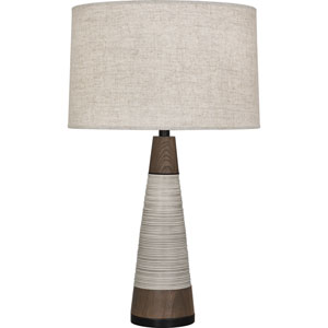 Ranger Walnut Wood and Patina Bronze One-Light Table Lamp with Bisque Shade