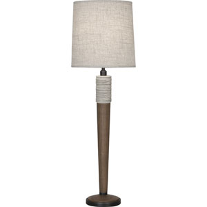 Ranger Walnut Wood and Patina Bronze 32-Inch One-Light Table Lamp with Bisque Shade