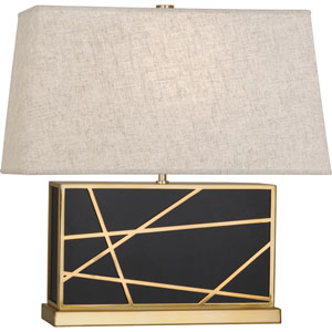 Jamison Deep Patina Bronze and Brass 20-Inch One-Light Table Lamp with Bisque Shade