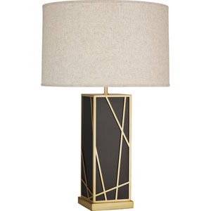 Jamison Deep Patina Bronze and Brass 30-Inch One-Light Table Lamp with Bisque Shade