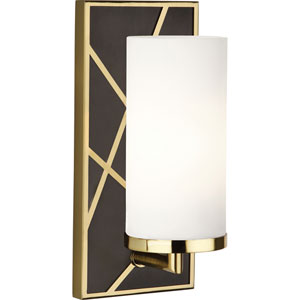 Jamison Deep Patina Bronze and Brass One-Light Wall Sconce with Frosted Glass