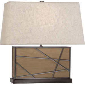 Jamison Oak Wood and Blackened Nickel 20-Inch One-Light Table Lamp with Bisque Shade