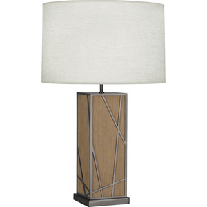 Jamison Oak Wood and Blackened Nickel 30-Inch One-Light Table Lamp