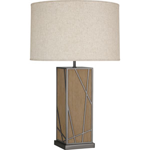 Jamison Oak Wood and Blackened Nickel 30-Inch One-Light Table Lamp with Bisque Shade