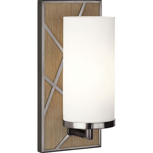 Jamison Oak Wood and Blackened Nickel One-Light Wall Sconce with Frosted Glass