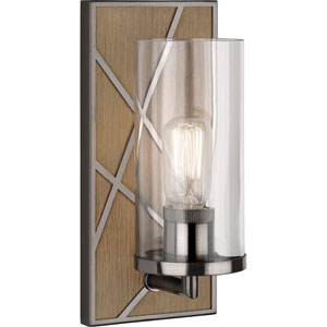 Jamison Oak Wood and Blackened Nickel One-Light Wall Sconce with Clear Glass