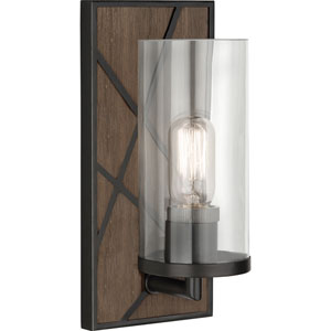Jamison Walnut Wood and Deep Patina Bronze One-Light Wall Sconce with Clear Glass