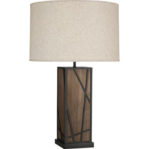 Jamison Walnut Wood and Deep Patina Bronze 30-Inch One-Light Table Lamp with Bisque Shade