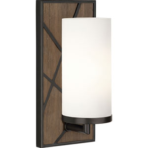 Jamison Walnut Wood and Deep Patina Bronze One-Light Wall Sconce with Frosted Glass