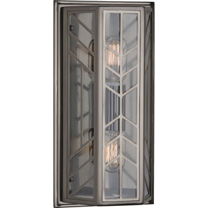 Garratt Blackened Nickel Two-Light Wall Sconce with Clear Glass
