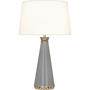 Grosvenor Brass and Taupe 30-Inch One-Light Table Lamp