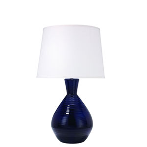 Kelly Navy Ceramic One-Light Table Lamp