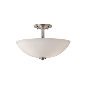 Marley Polished Nickel Three Light Semi-Flush Fixture with Opal Etched Glass