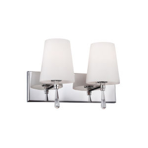 Rayden Chrome Two-Light Vanity Strip with Opal Glass
