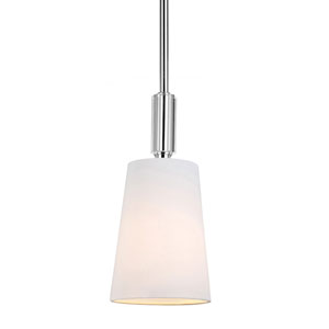 Bradford Polished Nickel One-Light Mini Pendant with White Hardback Fabric Shade