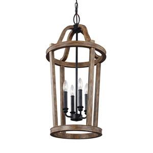 Canterbury Weathered Oak Wood Four-Light Pendant