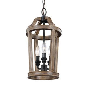 Canterbury Weathered Oak Wood Three-Light Pendant