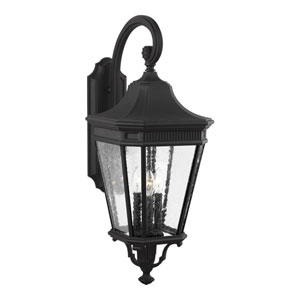 Castle Black 12-Inch Three-Light Outdoor Wall Lantern