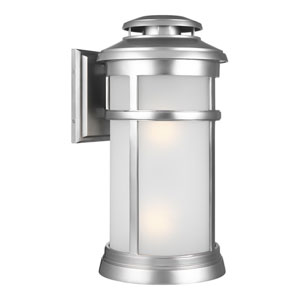 Chelmsford Painted Brushed Steel 11-Inch Two-Light Outdoor Wall Lantern