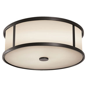 Derry Espresso Three-Light Outdoor Flush Mount