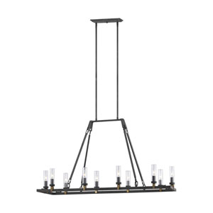 Heaton Antique Forged Iron 10-Light Outdoor Chandelier