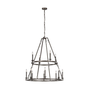 Heaton Steel 40-Inch 12-Light Chandelier