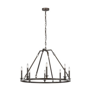 Heaton Steel Eight-Light Chandelier