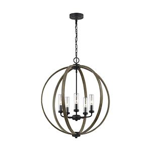 Hyattstown Weathered Oak Wood Five-Light Chandelier