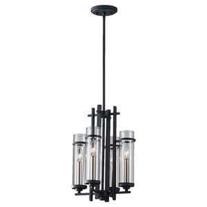 Leicester Antique Forged Iron and Brushed Steel Four-Light Chandelier