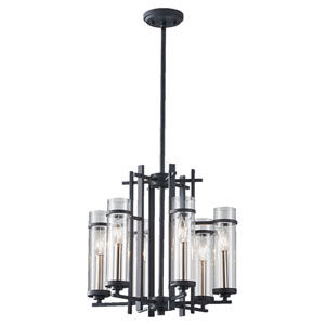 Leicester Antique Forged Iron and Brushed Steel Six-Light Chandelier