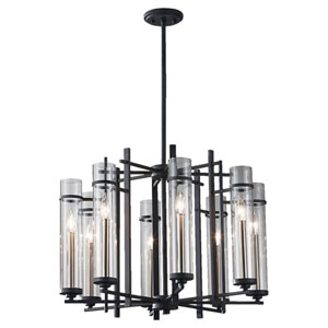 Leicester Antique Forged Iron and Brushed Steel Eight-Light Chandelier