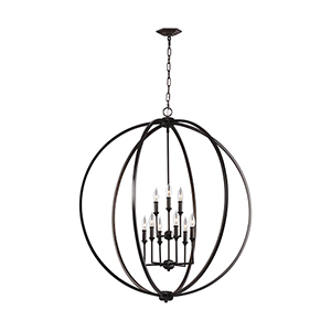 Monticello Bronze Nine-Light Chandelier