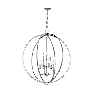 Monticello Polished Nickel Nine-Light Chandelier