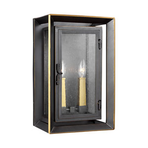 River Bronze 16-Inch Two-Light Outdoor Wall Lantern