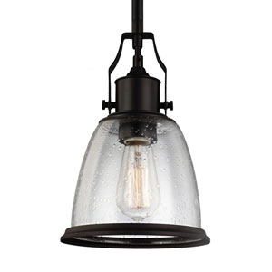 Sheffield Bronze One-Light 8-Inch Wide Mini Pendant with Clear Seeded Glass
