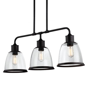Sheffield Bronze Three-Light 36-Inch Wide Pendant with Clear Seeded Glass