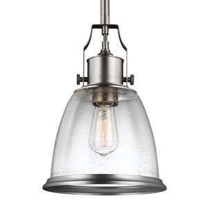Sheffield Satin Nickel One-Light 10-Inch Wide Mini Pendant with Clear Seeded Glass