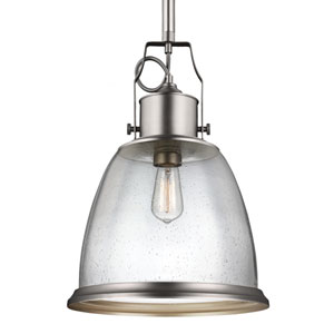 Sheffield Satin Nickel One-Light Pendant with Clear Seeded Glass