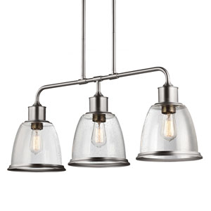 Sheffield Satin Nickel Three-Light 36-Inch Wide Pendant with Clear Seeded Glass