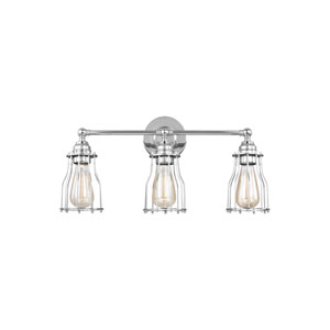 Suffolk Chrome Three-Light Wall Bath Fixture