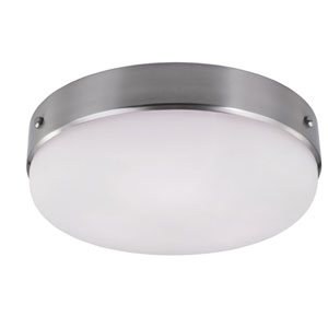 Sussex Brushed Steel Three-Light Indoor Flush Mount with White Opal Etched Glass