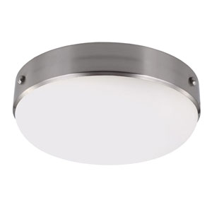 Sussex Brushed Steel Two-Light Indoor Flush Mount with White Opal Etched Glass