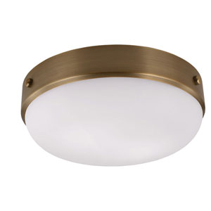 Sussex Brass Two-Light Indoor Flush Mount with White Opal Etched Glass