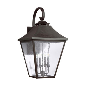 Sutton Black 33-Inch Four-Light Outdoor Wall Lantern