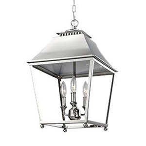 Worcester Polished Nickel 13-Inch Three-Light Pendant
