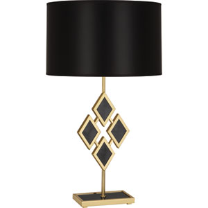Hartfield Brass One-Light 29-Inch Black Marble Table Lamp with Black Shade