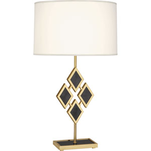 Hartfield Brass One-Light 29-Inch Black Marble Table Lamp with White Shade